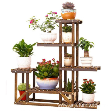 Wooden Plant Bonsai Stand Flower Pot Shelf Storage Rack Outdoor Indoor 6 Pots Holder 96X95X25Cm